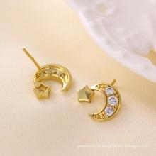 Moda charme 14k banhado a ouro estrela lua CZ jóias brinco Studs-23193