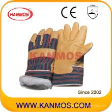 Cuero de cerdo amarillo Cuero Guantes de trabajo industriales de trabajo de invierno (22302)