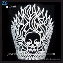 Fuego cristalino de alta calidad y cráneo halloween pageant crown