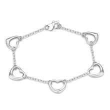 Ausländischer heißer Verkauf fünf Herz-Charme-hängendes Armband-Silber überzogene Armband-Schmucksachen