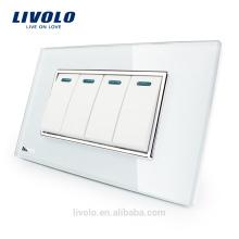 Livolo Fabricant De Luxe En Cristal Blanc Panneau De Verre 4 Gang 2 Voies Bouton-poussoir Home Wall Switch VL-C3K4S-81