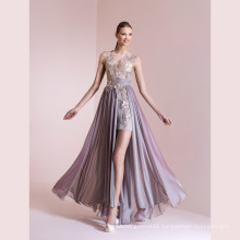 Embroidery Beading Organza Floor Length Evening Gown