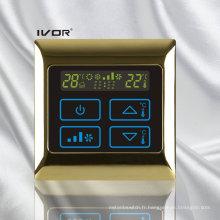 Interrupteur tactile Thermostat à 4 pièces avec cadre en métal (SK-AC2000B-4P-N)