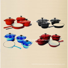 4PCS Emaille Gusseisen Kochgeschirr Set in vier Farben