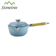 Cast Iron Enamel Casserole,Cast Iron Cookware,Enamel Cast Iron Cooking Pots With Wooden Handle