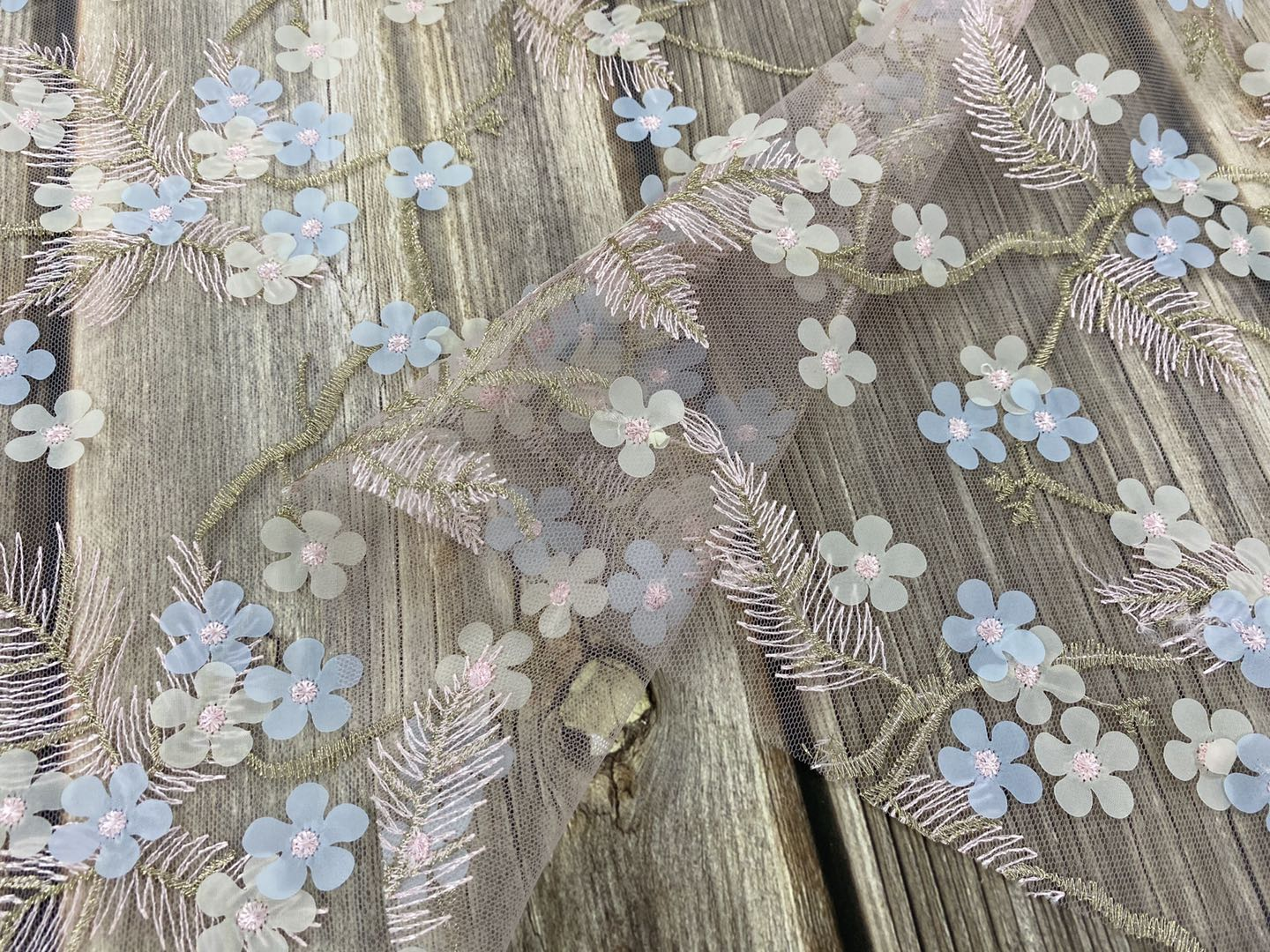 Poly Mesh Chiffon Embroidery Fabric