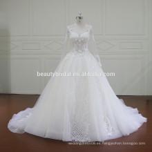 XF16014 mangas largas vestido de boda musulmán con perlas de lujo y apliques de encaje bonito