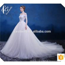 Nach Maß weißes Kristall wulstiges Ballkleid-Hochzeits-Kleid mit langem Schwanz weg von Schulter Weißes Tulle-Hochzeits-Kleid