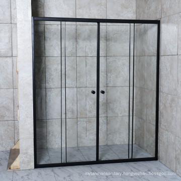 Black Aluminium Clear Tempered Glass Double Sliding Door