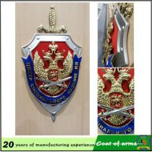 Emblema de forma de escudo personalizado con espada