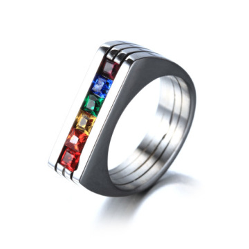 Fashion six rainbow gemstone ring