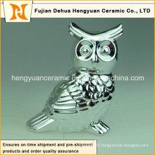 Electroplated Decoration Couple Ceramic Owl Figurine