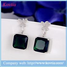 925 brincos de jóias de prata esterlina brinco quadrado esmeralda brinco verde designer gemstone