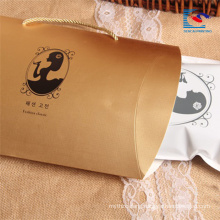 luxury golden pillow box for lady's silk stockings packaging