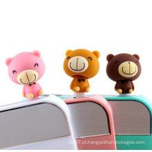 Mini urso de pelúcia anti pó plug para telefone celular acessórios