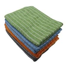 Мягкое чистящее полотенце в полоску из микрофибры и бамбука из натурального тканого материала
