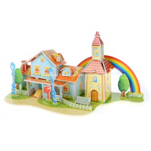 Puzzle maison 3D arc-en-ciel