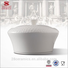 Hot sale white soup tureen for hotel, ceramic tureen