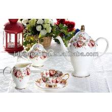 Sistema vendedor caliente de la cena de la taza y del platillo del café express del té del café del estilo del sistema de cerámica determinado de la vajilla de la melamina fijado