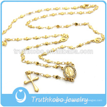 Yellow Gold Large Flat Heart Beads Necklace Beaded Crystal Pendant Cross Necklace