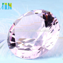High quality light rose crystal diamond paperweight for wedding souvenirs
