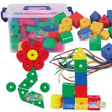 Hotsale kids threading plastic building connector toys
