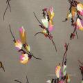 Tejido de chenilla de rayón con diseño floral años 60