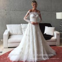 Applique Zipper A Line Sweep Train Charming Button Lace Long Sleeve Wedding Dress 2016 CWF2422
