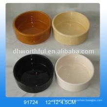 Пользовательские дешевые керамические чаши для питомцев в чистом цвете с логотипом