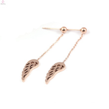 Stainless Steel Rose Gold Feather Drop Angel Wing Earrings