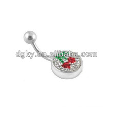 Cherry dangle button ring navel bar body jewelry piercing