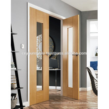 Porte double en placage à double feuille avec design en verre complet