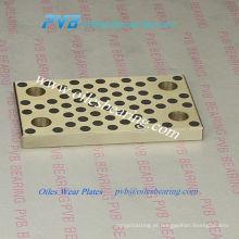 Placa de desgaste padrão do rolamento de deslizamento do JIT, placa de bronze da grafite da maquinaria pesada sem óleo, placa deslizante grapphite de bronze dos oleos