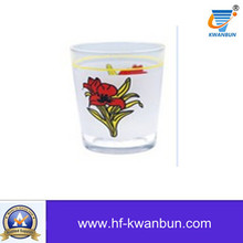 Glass Cup Tea Cup with Flower Decal Tumbler Kb-Hn0752