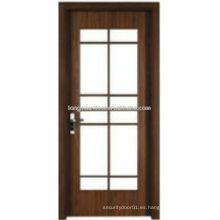 WPC puerta de baño de vidrio de madera