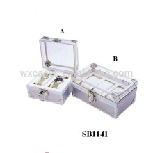 hot sell aluminum watch display case for 2 watches