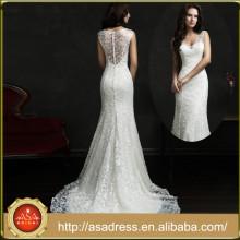 AMS18 Modern Style Bridal Wedding Gown Illusion Back Lace Beautiful Pakistani Wedding Dresses