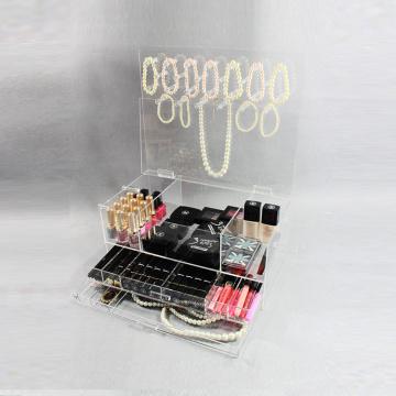 Organizador de maquillaje cosmético y joyas de acrílico transparente