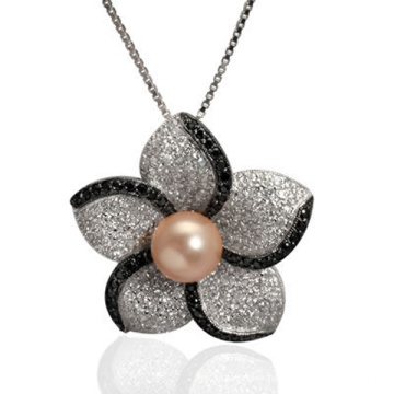 Micro Pave CZ 925 Silver Pendant Jewelry with Pearl