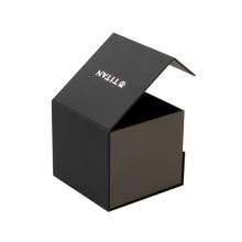 Black magnetic watch box with custom logo
