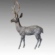 Tier Großer Garten Skulptur Männlich Rotwild Dekor Bronze Statue Tpal-058