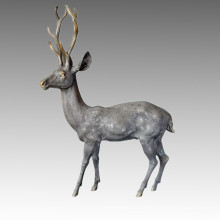Animal Large Garden Sculpture Male Deer Decor Bronze Statue Tpal-058