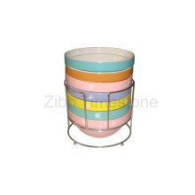 6.5′′ Stoneware Stackable Bowl With Metal Rack (TM12018)