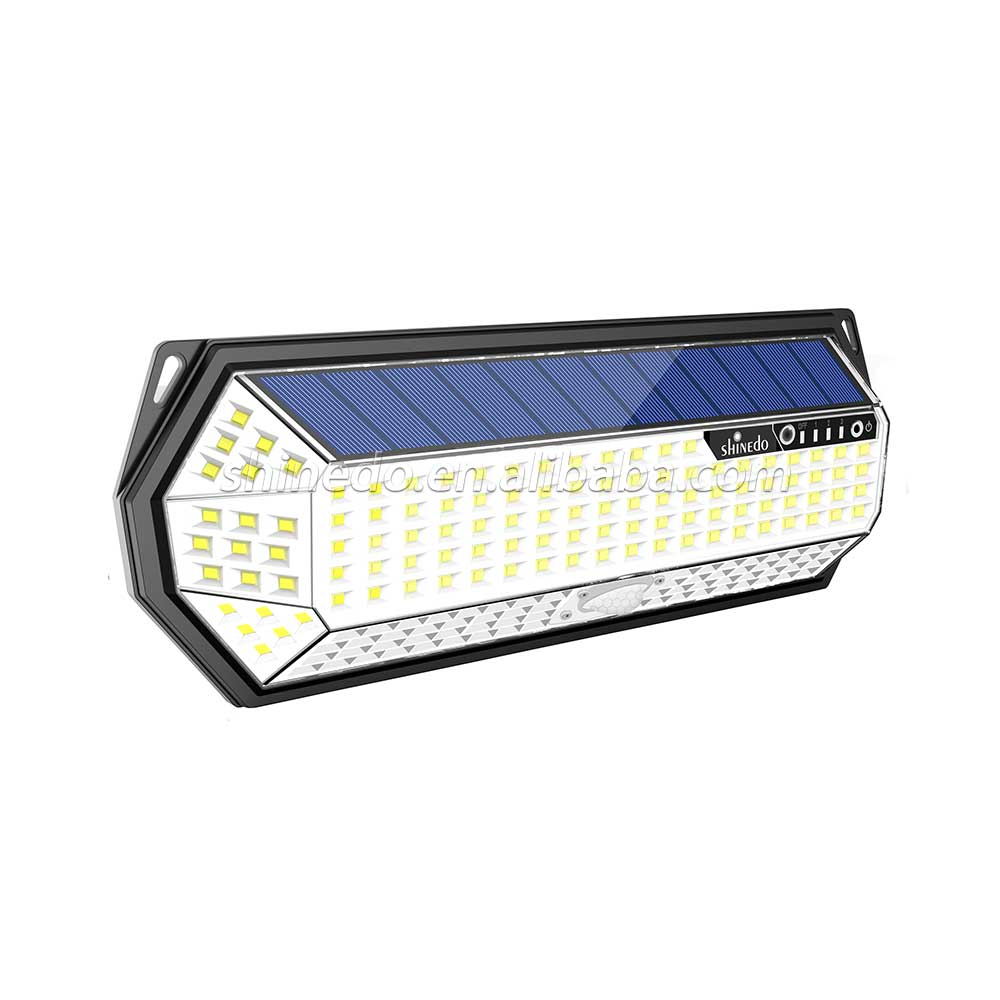 Wireless Motion Sensor Powered Solar Outdoor Garden Lamp 196 Led 8 Sides Lighting