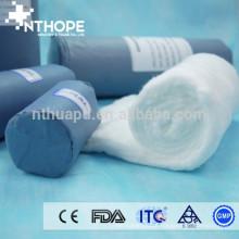 Embalagem de papel azul Rolo de algodão absorvente cirúrgico