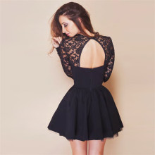Women See Through Backless Front Open Black Evening Party Dress