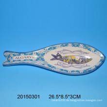 Kreative Fisch geformte Keramik Löffel Rest mit Abziehbild für Küchendekoration