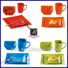 Цветной глазурованный керамический набор для обеда производитель