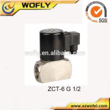 Aço inoxidável 304 2/2 vias válvula solenóide 12v