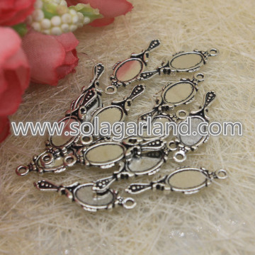 Antique Silver Hand Mirror Charms Pendants Drop 10*27MM